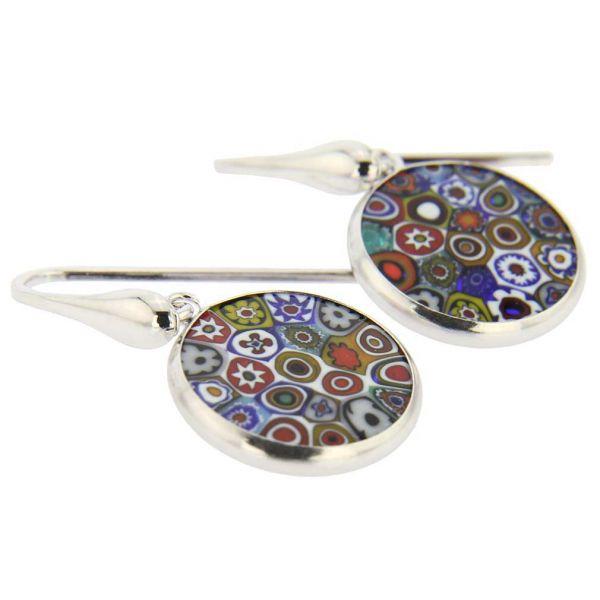 "Millefiori Round Dangle Earrings \""Multicolor\"" - Silver"