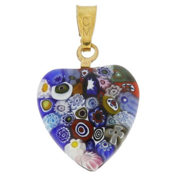 Millefiori Heart Pendant - Gold Multicolor