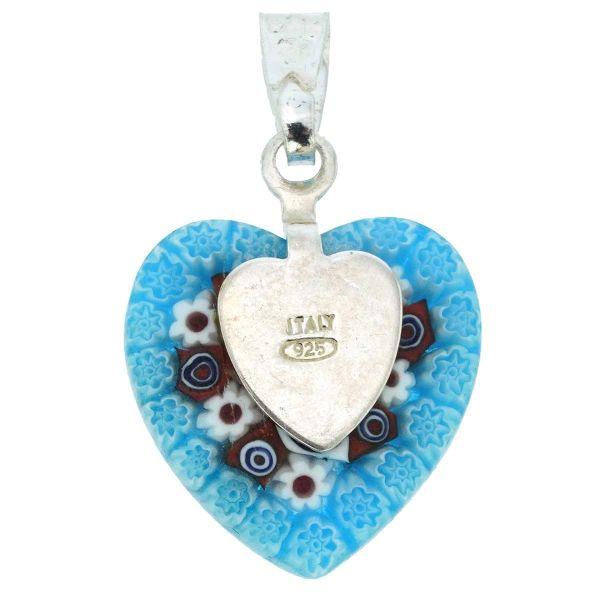 Millefiori Heart Pendant - Silver #2
