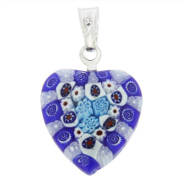 Millefiori Heart Pendant - Silver #4