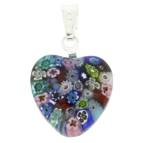 Millefiori Heart Pendant - Silver Multicolor