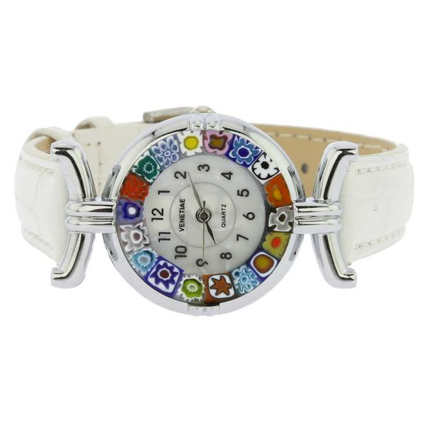 Murano Millefiori Watch With Leather Band - White Multicolor