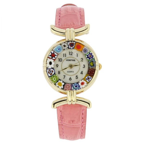Murano Millefiori Watch With Leather Band - Pink Multicolor