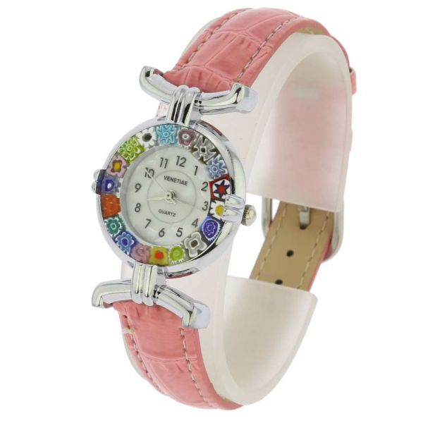 Murano Millefiori Watch With Leather Band - Silver Pink Multicolor