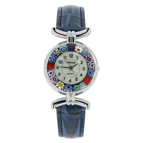 Murano Millefiori Watch With Leather Band - Blue Multicolor