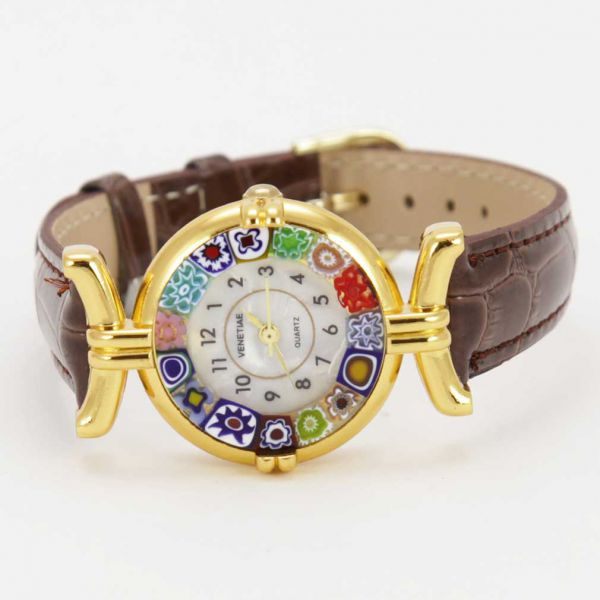 Murano Millefiori Watch With Leather Band - Brown Multicolor