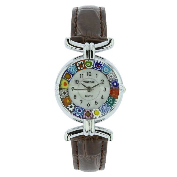 Murano Millefiori Watch With Leather Band - Silver Brown Multicolor