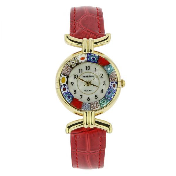 Murano Millefiori Watch With Leather Band - Red Multicolor