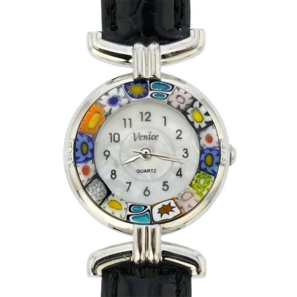 Murano Millefiori Watch With Leather Band - Black Multicolor