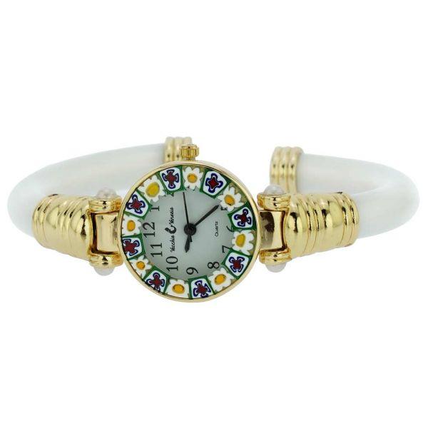 Murano Millefiori Bangle Watch - White Gold