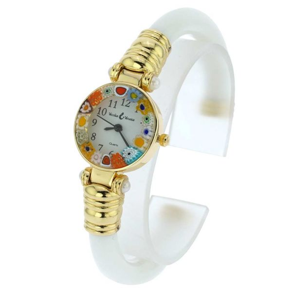 Murano Millefiori Bangle Watch - White Multicolor