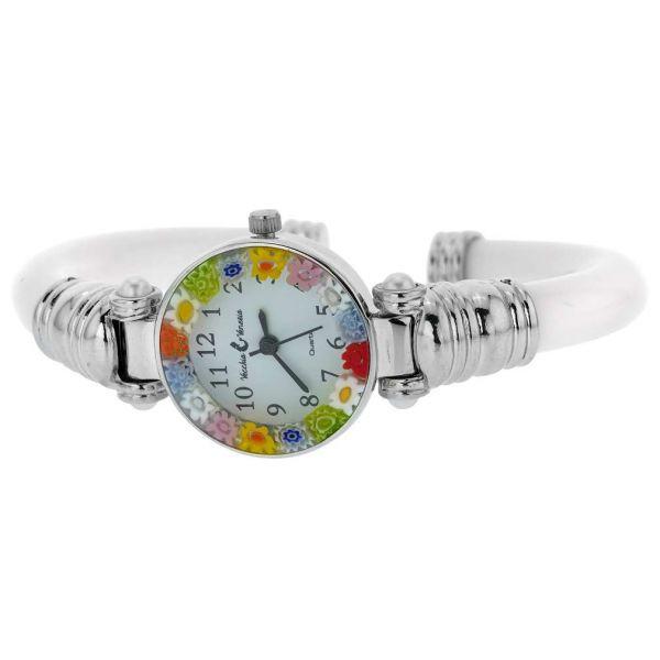Murano Millefiori Bangle Watch - Silver White Multicolor