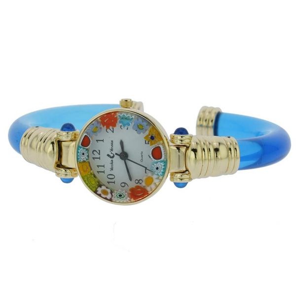 Murano Millefiori Bangle Watch - Blue Gold Multicolor