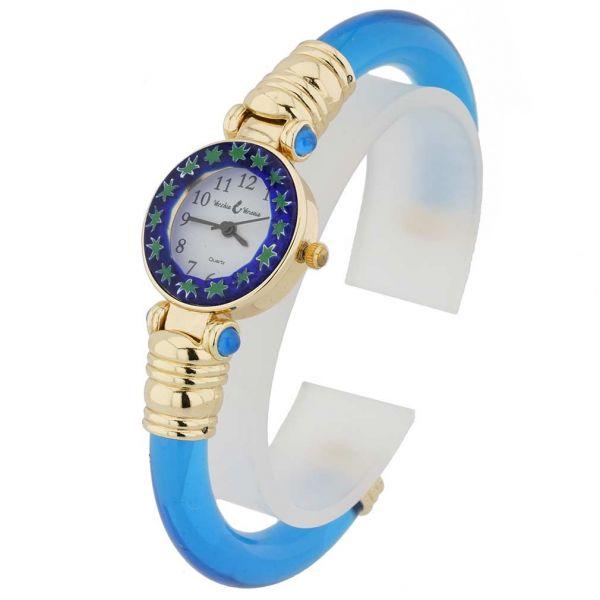 Murano Millefiori Bangle Watch - Blue