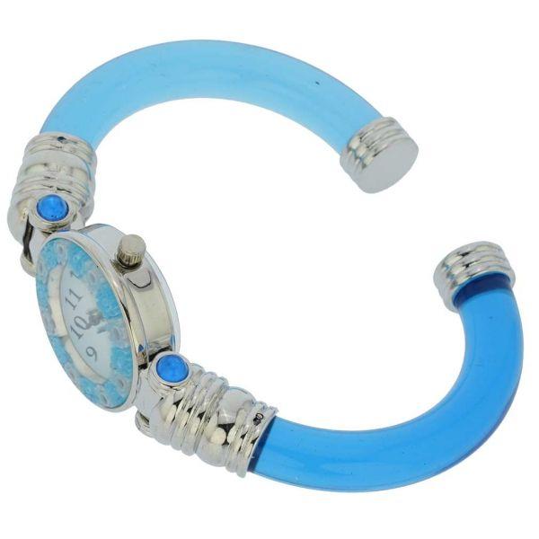 Murano Millefiori Bangle Watch - Silver Blue