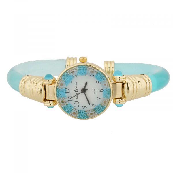 Murano Millefiori Bangle Watch - Aqua