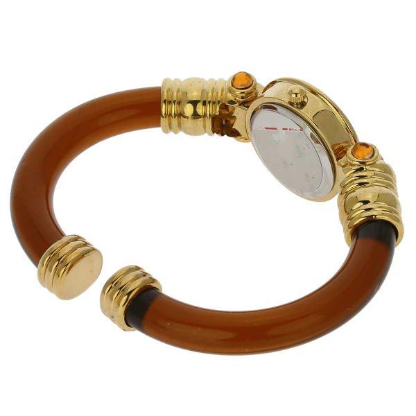 Murano Millefiori Bangle Watch - Golden Brown
