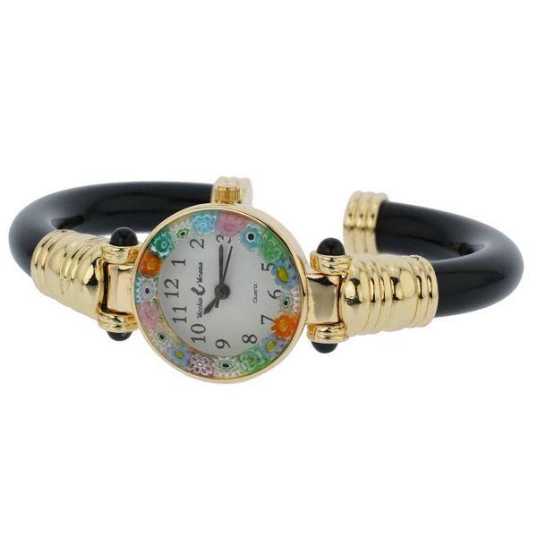Murano Millefiori Bangle Watch - Black Gold Multicolor