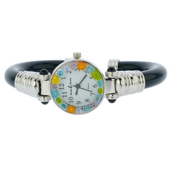 Murano Millefiori Bangle Watch - Silver Black Multicolor