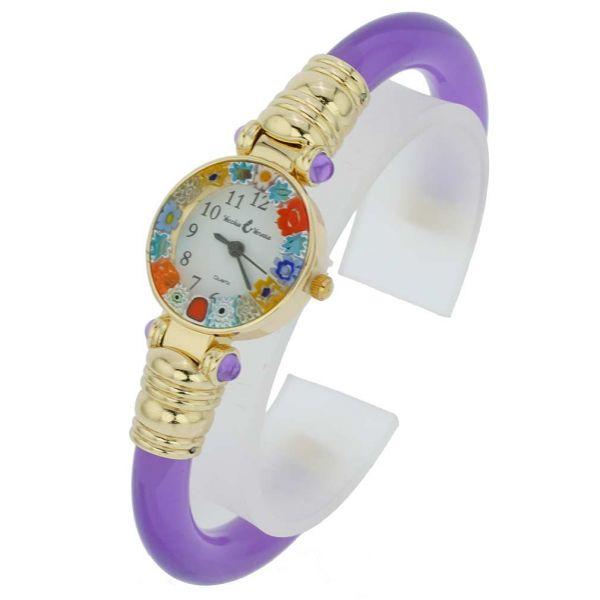 Murano Millefiori Bangle Watch - Purple Gold Multicolor