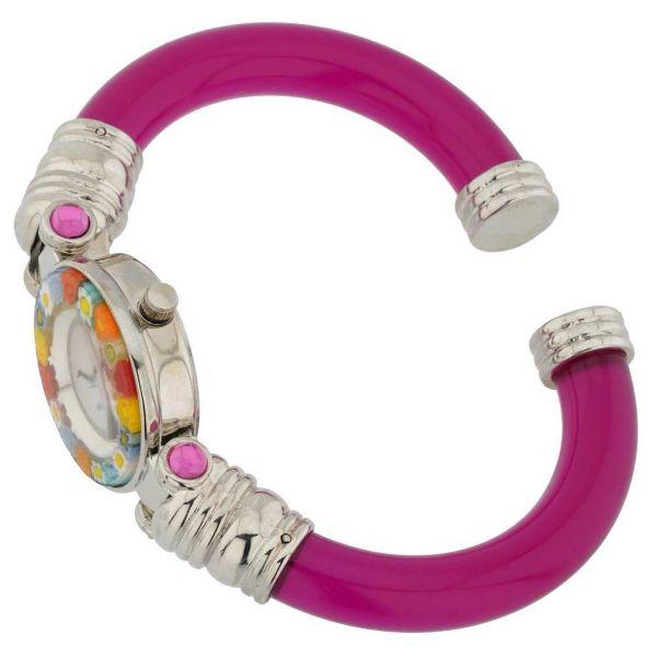 Murano Millefiori Bangle Watch - Red Multicolor
