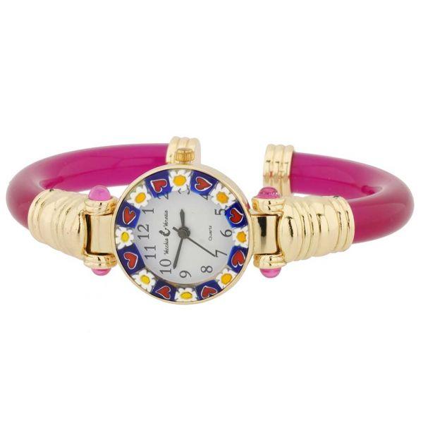 Murano Millefiori Bangle Watch - Red