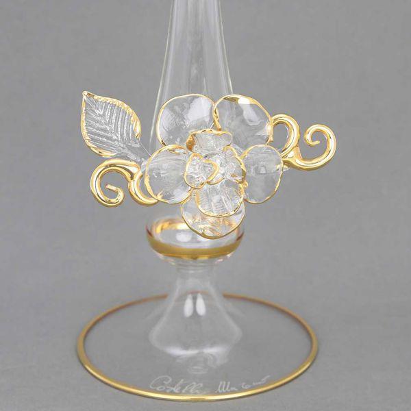 Cristallo and Gold Flower Murano Glass Vase
