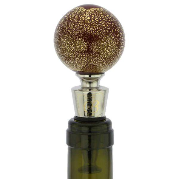 Murano Glass Golden Red Ball Bottle Stopper