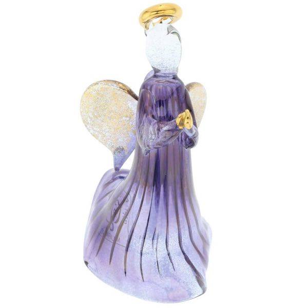 Murano Glass Angel Christmas Ornament - Blue