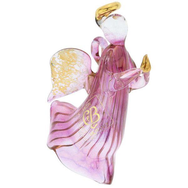 Murano Glass Angel Christmas Ornament - Purple