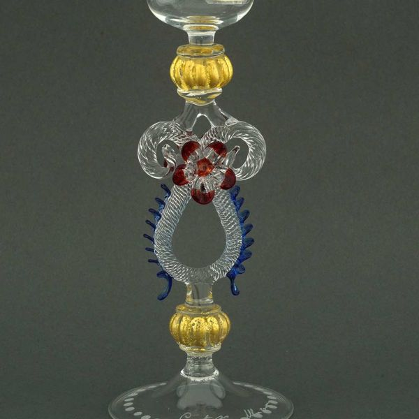 Murano Glass Engraved Champagne Flute - Blue And Red Stem
