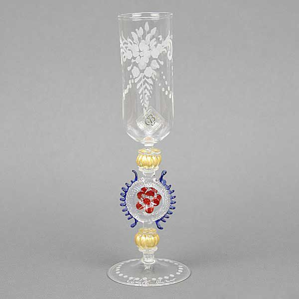 Murano Glass Engraved Champagne Flute - Red And Gold Stem