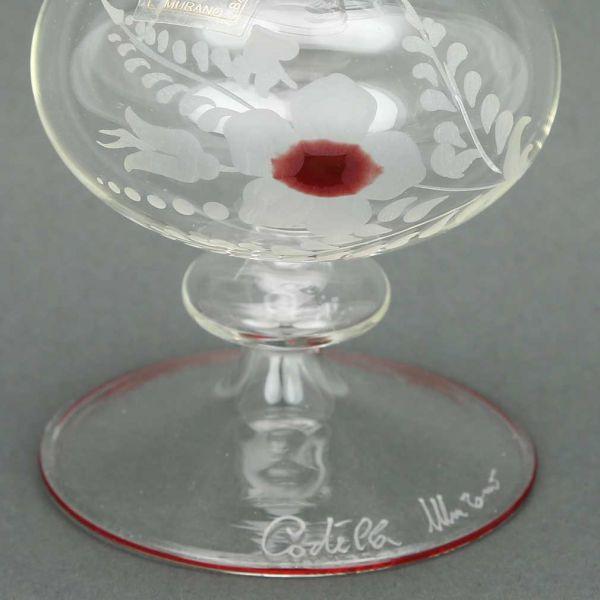 Cristallo and Red Murano Glass Carafe Decanter