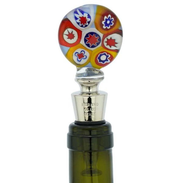 Murano Glass Millefiori Bottle Stopper - Blue