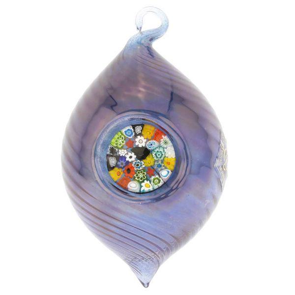 Murano Glass Millefiori Christmas Ornament - Blue