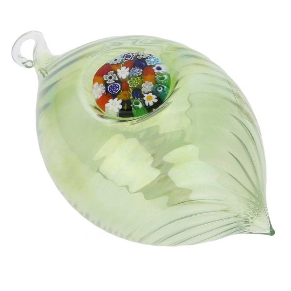 Murano Glass Millefiori Christmas Ornament - Green