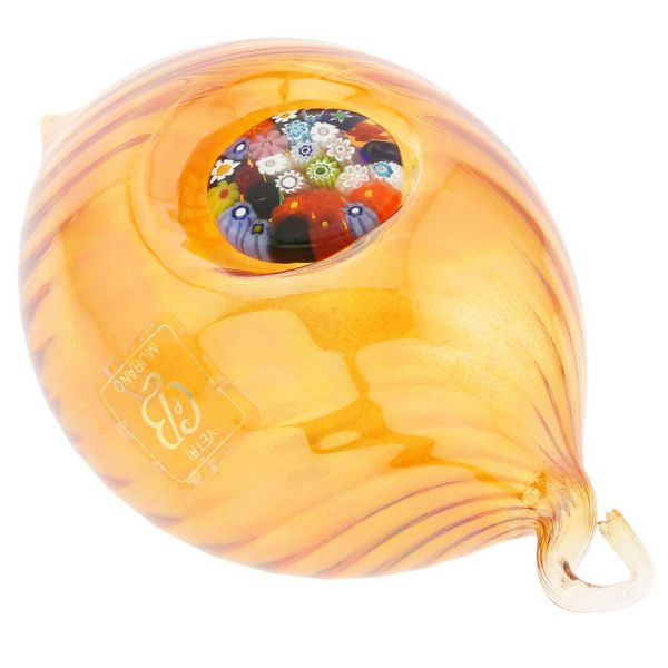 Murano Glass Millefiori Christmas Ornament - Golden Brown