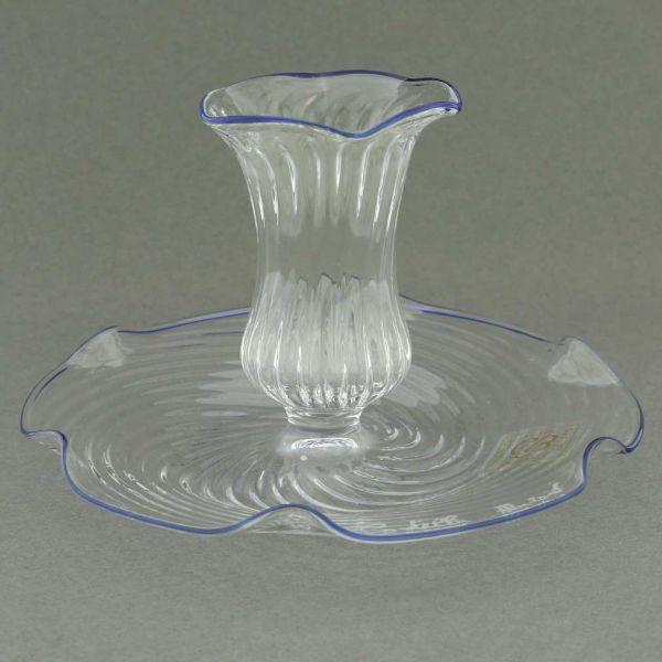Cristallo Blue Flower Murano Glass Candle Holder