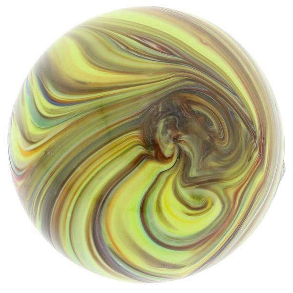 Murano Glass Chalcedony Christmas Ornament - Green Swirl