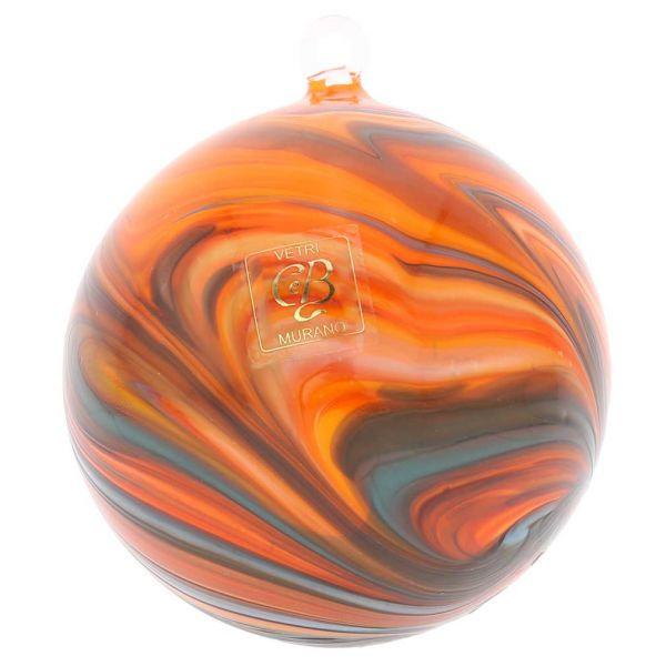 Murano Glass Chalcedony Christmas Ornament - Rainbow Swirl