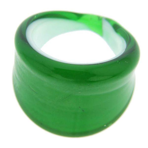 Venetian Contemporary Ring In Flat Design - Emerald Green