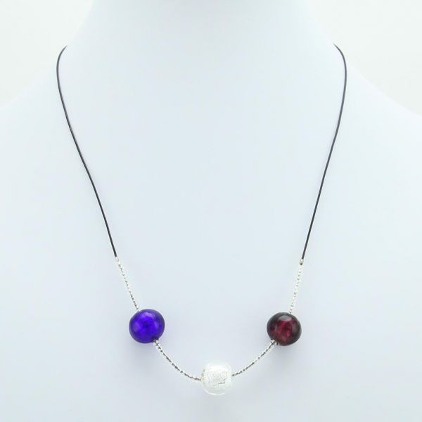 Three Balls Murano Necklace - Silver Leaf
