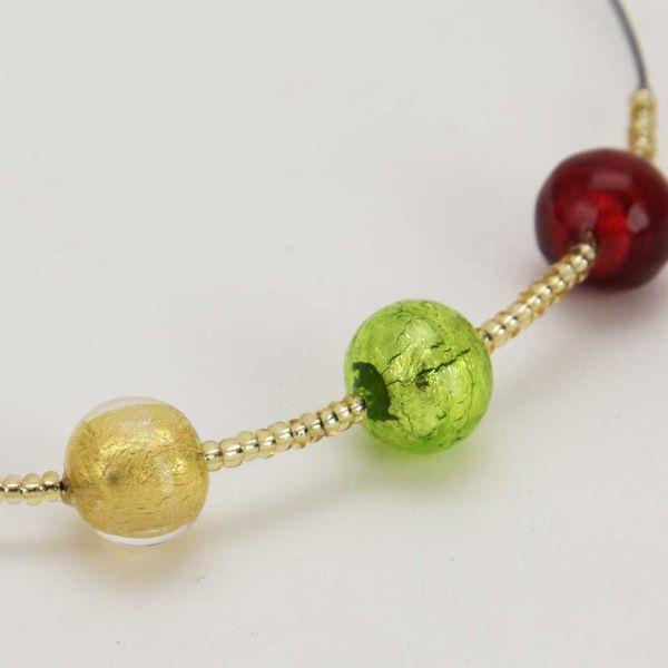 Three Balls Murano Necklace - Gold Leaf