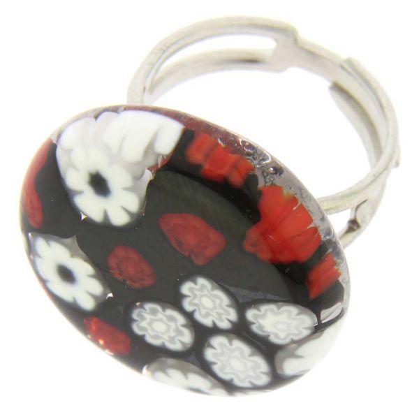Arlecchino Murano Millefiori Round Ring - Red and Black