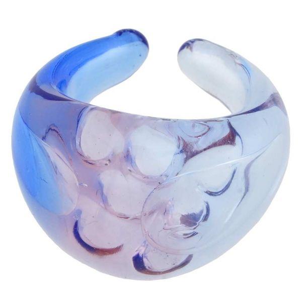 Murano Ring In Domed Design - Transparent Aqua