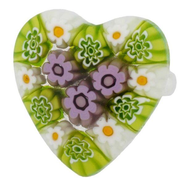 Arlecchino Murano Millefiori Heart Ring - Light Blue