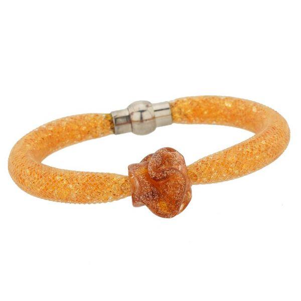 Murano Rose Flower Bracelet - Golden Brown