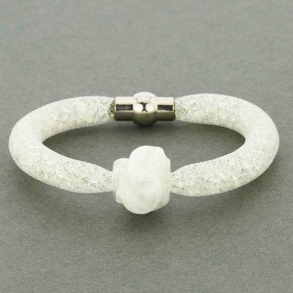 Murano Rose Flower Bracelet - White