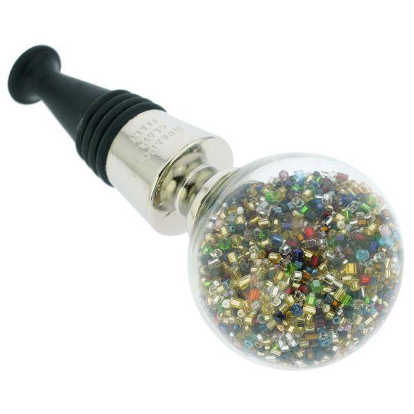 Murano Glass Sparkly Beads Bottle Stopper - Multicolor