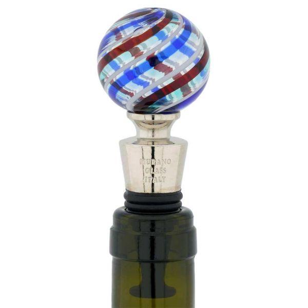 Murano Glass Bottle Stopper - Blue Dots